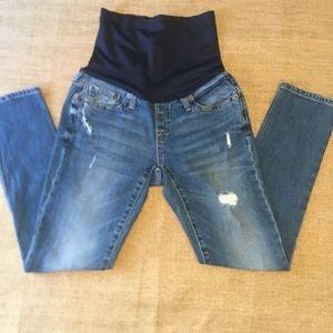 Gap maternity distressed jeans medium wash 26R